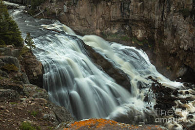 Smooth Water Of Gibbon Falls Print by Robert Bales