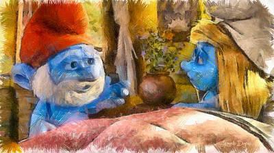 Bed Painting - Smurfette And Papa Smurf - Pa by Leonardo Digenio