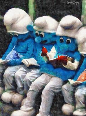 Adorable Digital Art - Smurfs At Library - Da by Leonardo Digenio