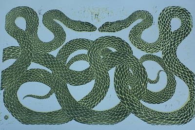 Lino Mixed Media - Snake Council by Pati Hays