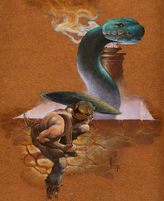 Barbarian Painting - Snake Pit by Richard Hescox