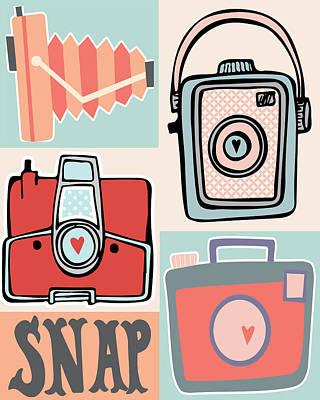 Camera Digital Art - Snap - Vintage Cameras by Colleen VT