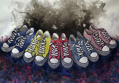 Sneakers Shoes Print by Marina Pacurar