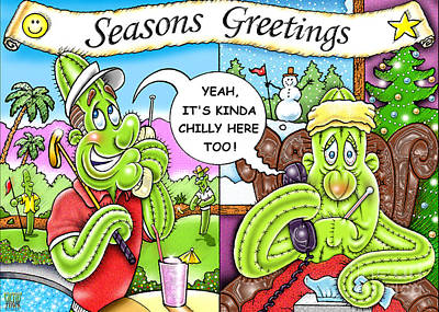 Holiday Cacti Drawing - Sneezin's Greetings by Cristophers Dream Artistry