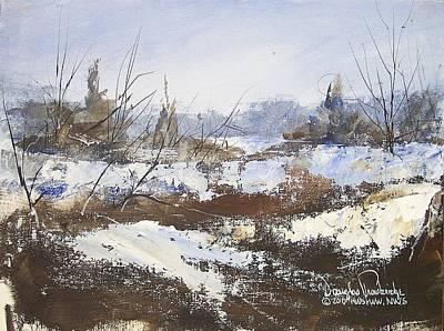 Snowscape Painting - Snow And Cedars by Douglas W Trowbridge