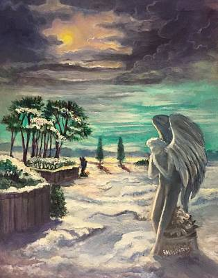 Night Angel Painting - Snow Angels by Randol Burns