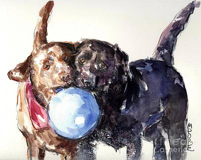 Dogs In Snow Painting - Snow Ball by Molly Poole