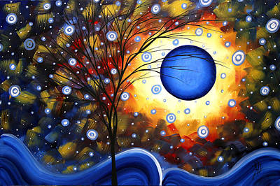 Moon Painting - Snow Burst Cirlce Of Life Painting Madart by Megan Duncanson