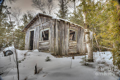 Snow Covered Abandon Cabin Print by Patrick Shupert