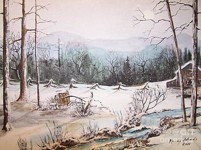 Snowscape Painting - Snow Covered Barrel by Randy Edwards