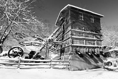 Snow Covered Historic Quarry Building Print by George Oze