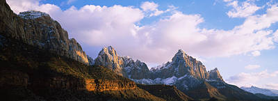 Zion National Park Photograph - Snow Covered Mountain Range, The by Panoramic Images