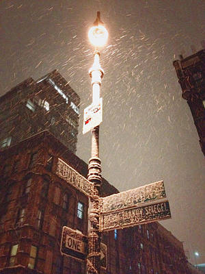Lower East Side Photograph - Snow Covered Signs - New York City by Vivienne Gucwa