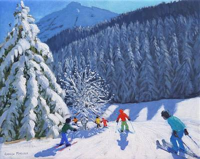 Christmas Greeting Painting - Snow Covered Trees by Andrew Macara