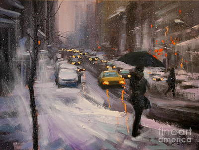 Painting - Snow Day In Lexington Ave. by Chin H Shin