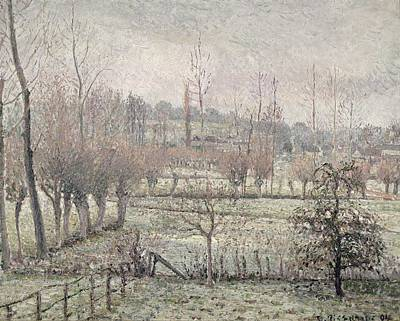 Winter Scenes Painting - Snow Effect At Eragny by Camille Pissarro