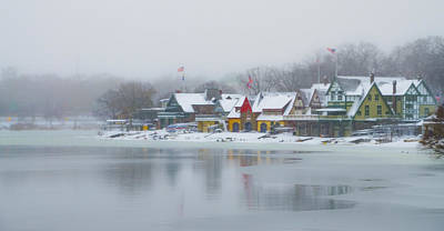 Snow Falling On Boathouse Row Print by Bill Cannon