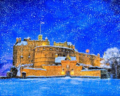 Snow Falling On Edinburgh Castle Print by Mark Tisdale