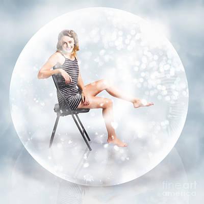 Snow Globe Pin Up Girl Print by Jorgo Photography - Wall Art Gallery