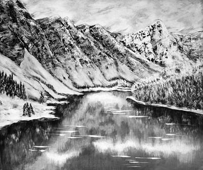 Snow In November Black And White Print by Katreen Queen