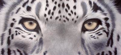 Snow Leopard Eyes Painting Original by Rachel Stribbling