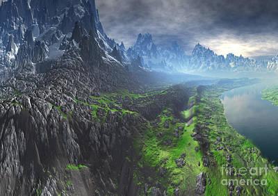 Snow Leopard River Valley Print by Heinz G Mielke