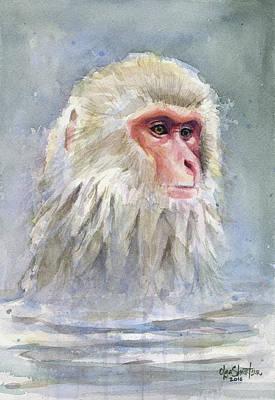 Wild Animals Painting - Snow Monkey Taking A Bath by Olga Shvartsur