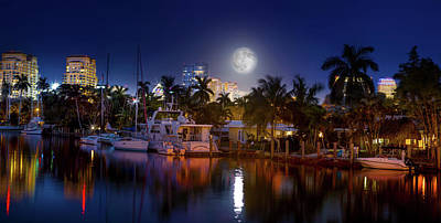 Full Moon Photograph - Snow Moon Over Fort Lauderdale by Mark Andrew Thomas