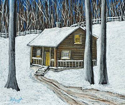 Snow On Cabin Print by Reb Frost