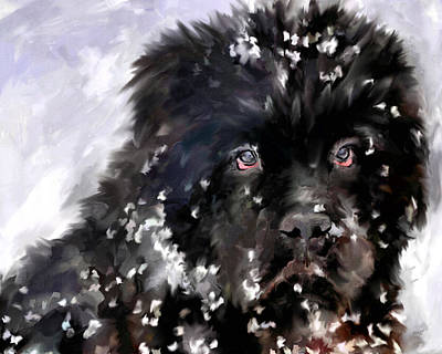 Dogs In Snow Painting - Snow Play by Jai Johnson