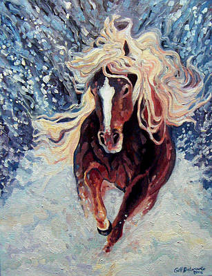 Snow Pony Print by Gill Bustamante