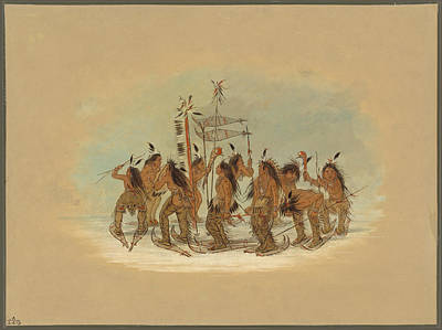 Painting - Snow Shoe Dance. Ojibbeway by George Catlin