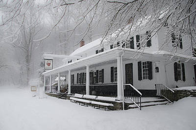 Wissahickon Creek Photograph - Snow Storm At Valley Green Inn by Bill Cannon