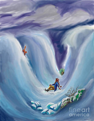 Snow Storm Drawing - Snow Tang - Story Illustration 6 - Age 12 by Dawn Senior-Trask