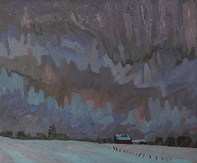 Nuclear Fields Painting - Snow Virga Farm by Phil Chadwick