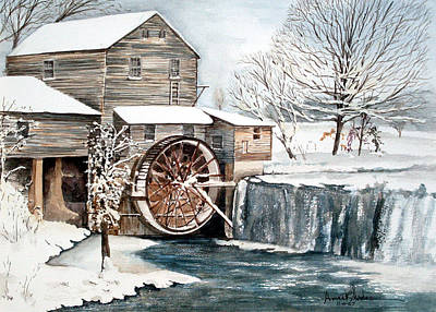Pigeon Forge Painting - Snow Wheel by Anne Rhodes