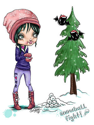 Snowball Fight Painting - Snowball Fight by Lizzy Love