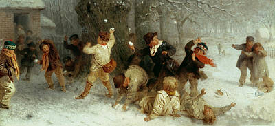 Snowball Fights Painting - Snowballing by John Morgan