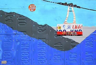 Snow Scene Mixed Media - Snowbird Ski Resort Lift Utah License Plate Art by Design Turnpike