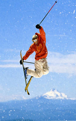 Snowboarder Painting - Snowboarder Jumping Against Blue Sky by Lanjee Chee