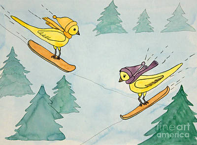 Snowboarding Birds Print by Norma Appleton