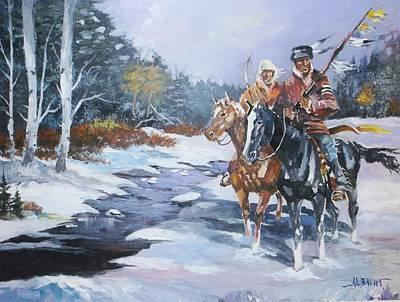 Snowbound Hunters Print by Al Brown