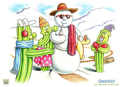 Holiday Cacti Painting - Snowday by Cristophers Dream Artistry