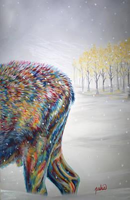 Snowdrifter Triptych Panel 3 Original by Teshia Art