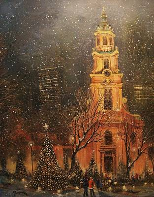 Night Scenes Painting - Snowfall In Cathedral Square - Milwaukee by Tom Shropshire