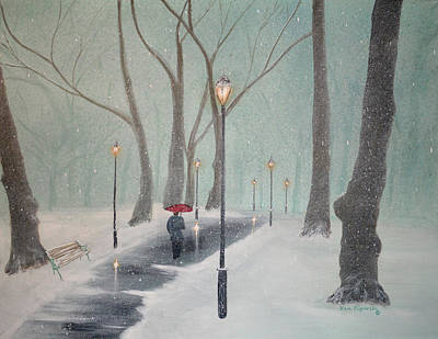 Park Painting - Snowfall In The Park by Ken Figurski