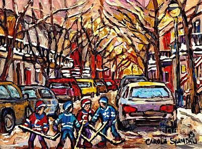 Snowfall Montreal Memories Street Hockey Art Original Winter  Paintings For Sale By Carole Spandau Original by Carole Spandau