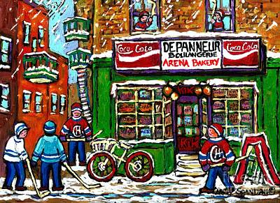 Montreal Winter Scenes Painting - Snowfall Street Hockey Arena Bakery Montreal Memories Coca Cola Sign Original Winter Scene For Sale by Carole Spandau