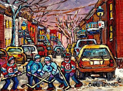 Winter Sports Painting - Snowfall Street Hockey Montreal Memories Original Hockey Winter Paintings For Sale By Carole Spandau by Carole Spandau