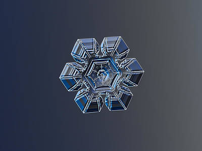 Symmetry Photograph - Snowflake Photo - Crystal Of Darkness by Alexey Kljatov